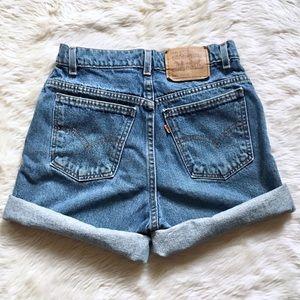True Levi's Vintage 951 Orange Tab Mom Shorts